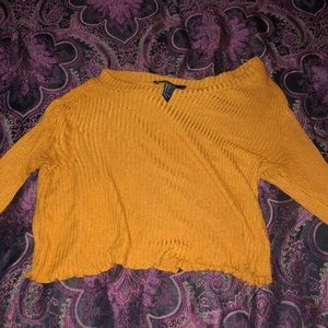 Orange Forever 21 flared long sleeve crop top